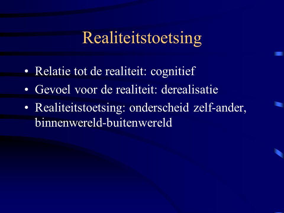 Realiteitstoetsing Relatie tot de realiteit: cognitief