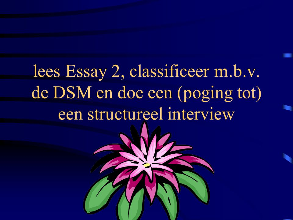 lees Essay 2, classificeer m. b. v