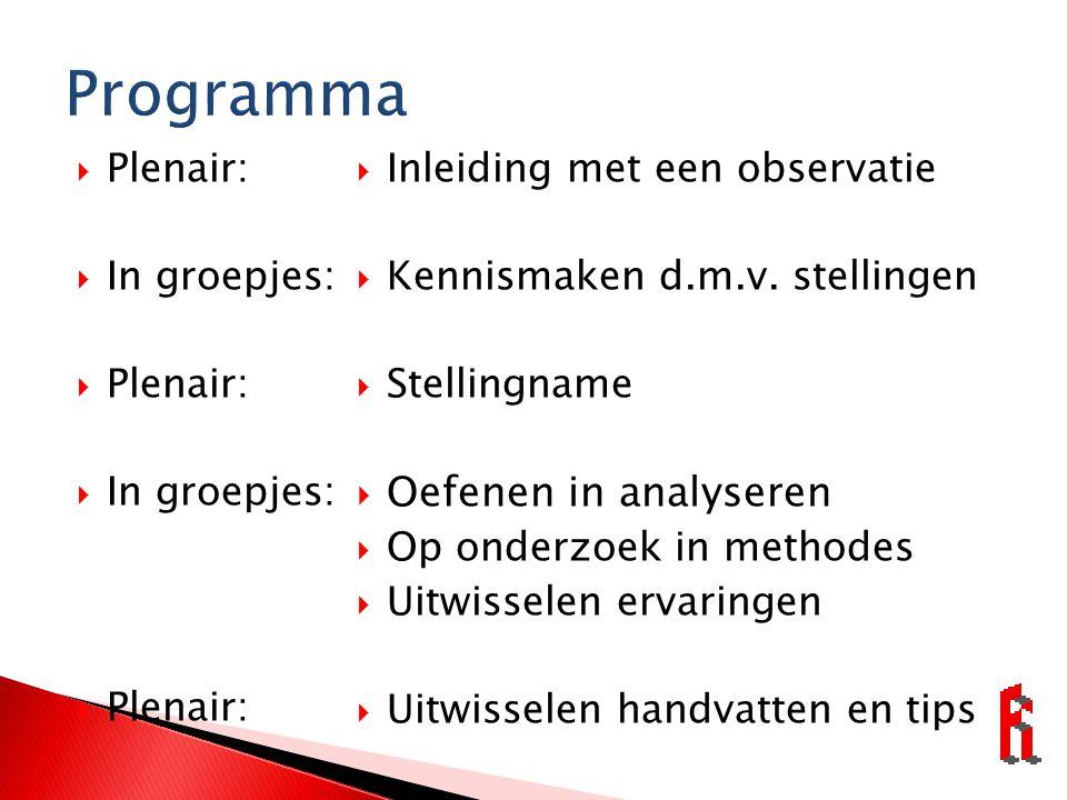 Programma Oefenen in analyseren Plenair: In groepjes:
