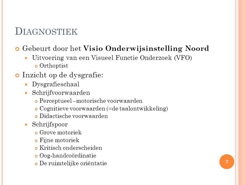 Diagnostiek Gebeurt door het Visio Onderwijsinstelling Noord