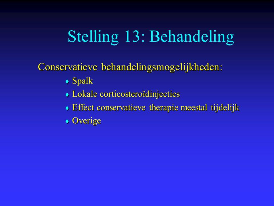 Stelling 13: Behandeling