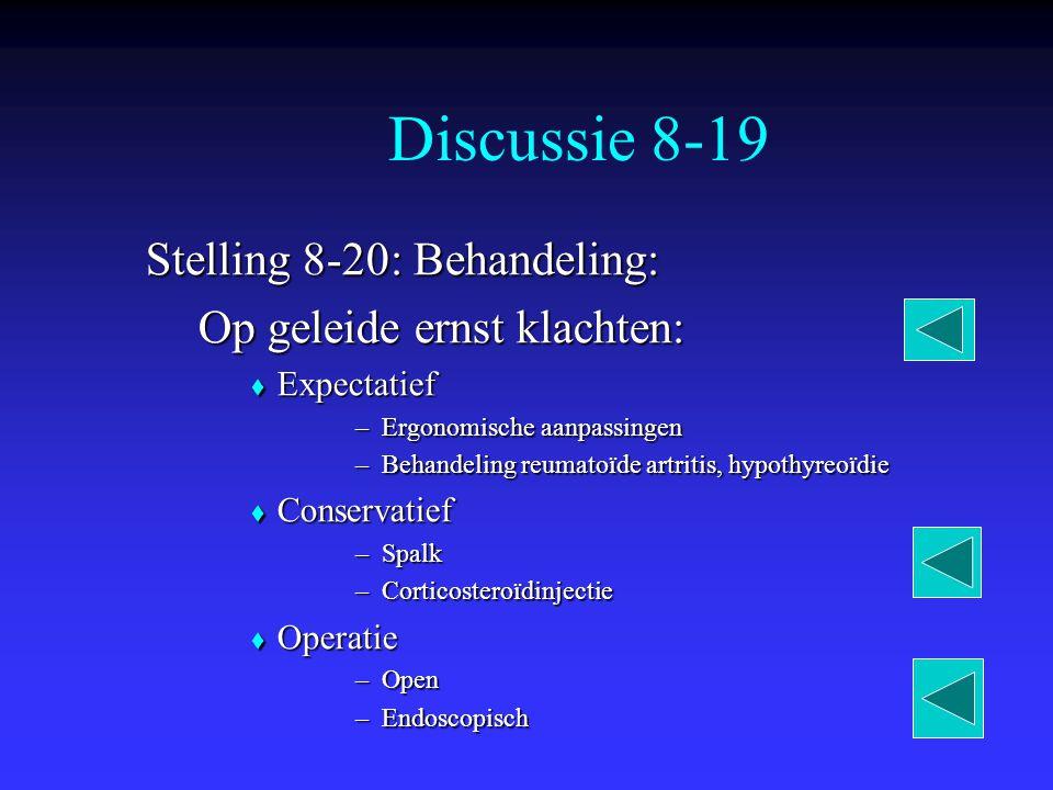 Discussie 8-19 Stelling 8-20: Behandeling: Op geleide ernst klachten: