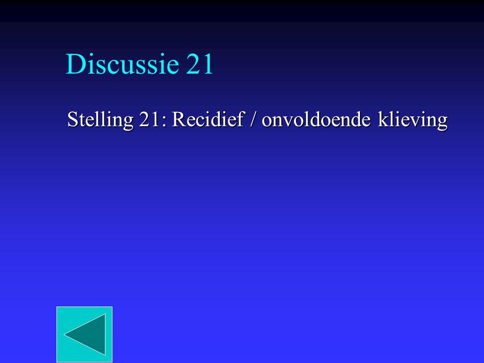 Discussie 21 Stelling 21: Recidief / onvoldoende klieving