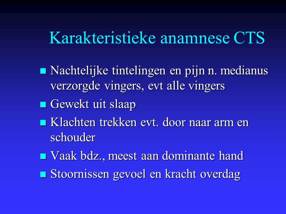 Karakteristieke anamnese CTS