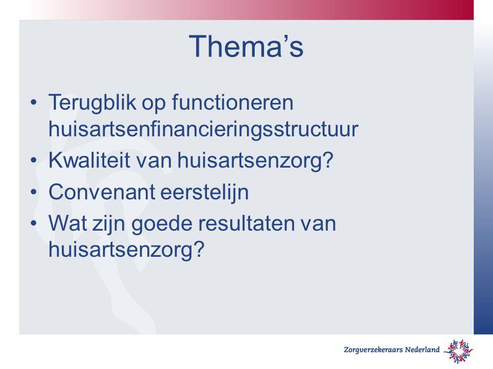 Thema's Terugblik op functioneren huisartsenfinancieringsstructuur