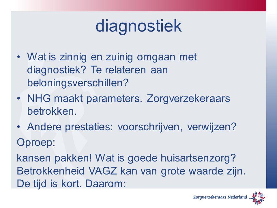 diagnostiek Wat is zinnig en zuinig omgaan met diagnostiek Te relateren aan beloningsverschillen NHG maakt parameters. Zorgverzekeraars betrokken.