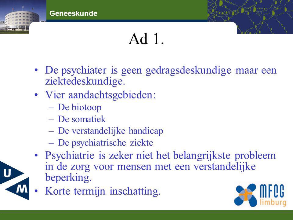Ad 1. De psychiater is geen gedragsdeskundige maar een ziektedeskundige. Vier aandachtsgebieden: De biotoop.