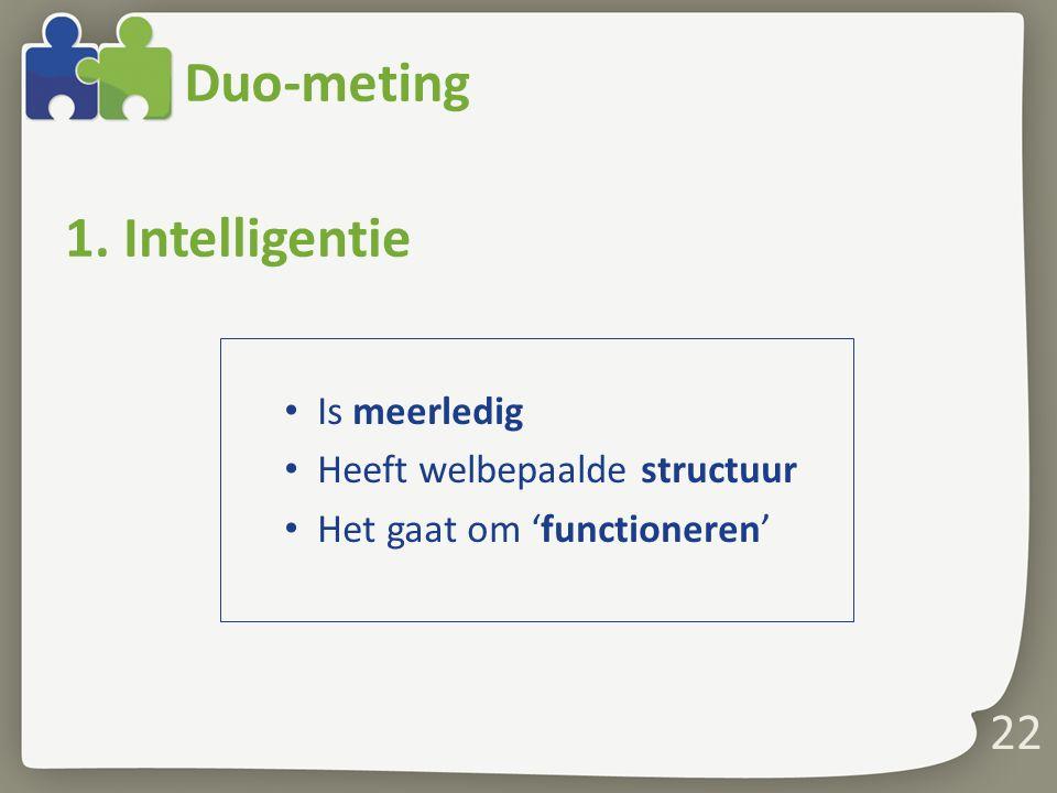 Duo-meting 1. Intelligentie Is meerledig Heeft welbepaalde structuur