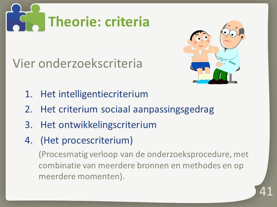 Theorie: criteria Vier onderzoekscriteria Het intelligentiecriterium