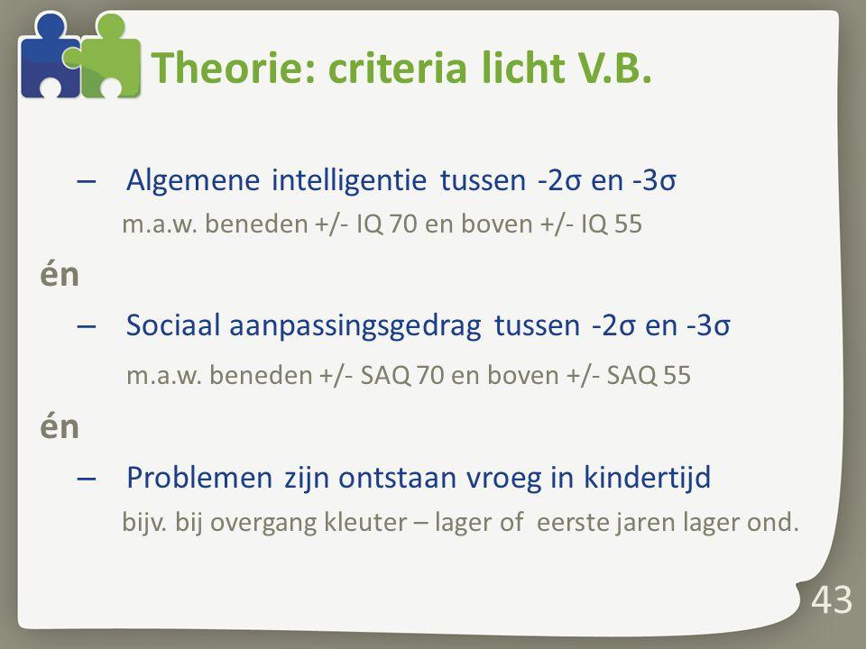 Theorie: criteria licht V.B.