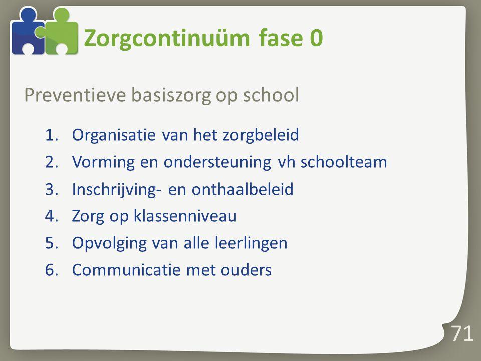 Zorgcontinuüm fase 0 Preventieve basiszorg op school