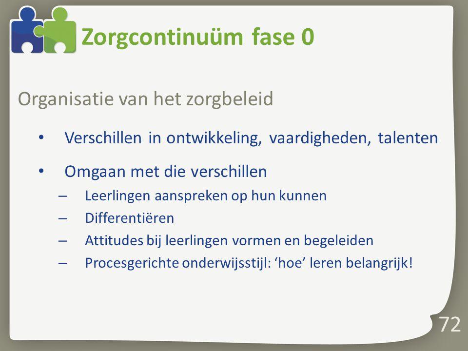 Zorgcontinuüm fase 0 Organisatie van het zorgbeleid