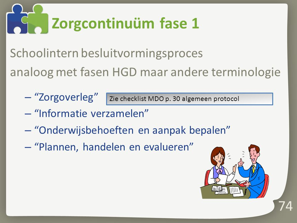 Zorgcontinuüm fase 1 Schoolintern besluitvormingsproces