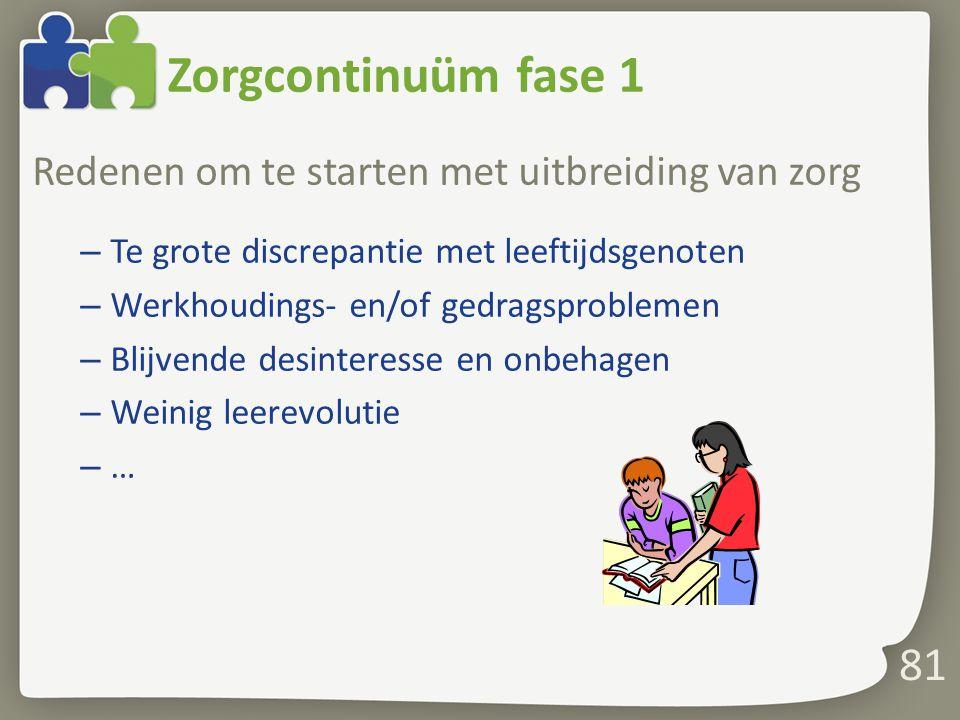 Zorgcontinuüm fase 1 Redenen om te starten met uitbreiding van zorg