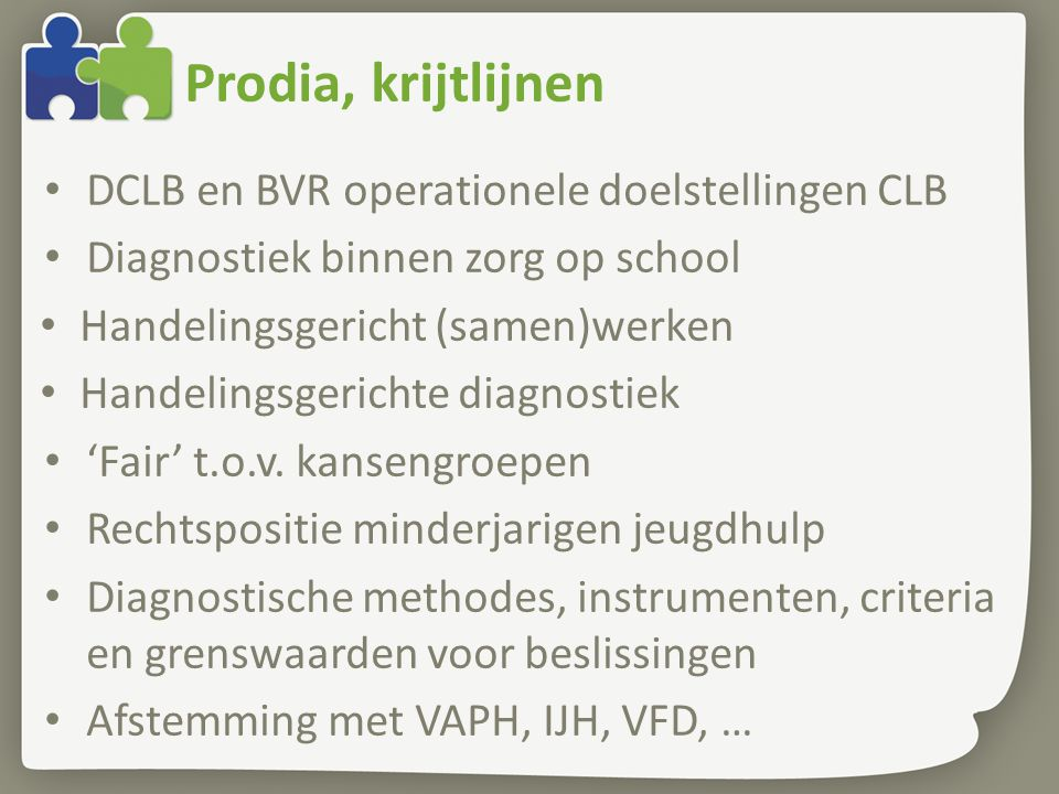 Prodia, krijtlijnen DCLB en BVR operationele doelstellingen CLB