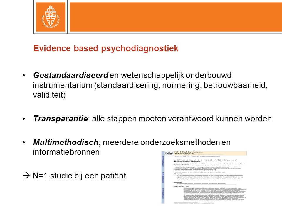 Evidence based psychodiagnostiek