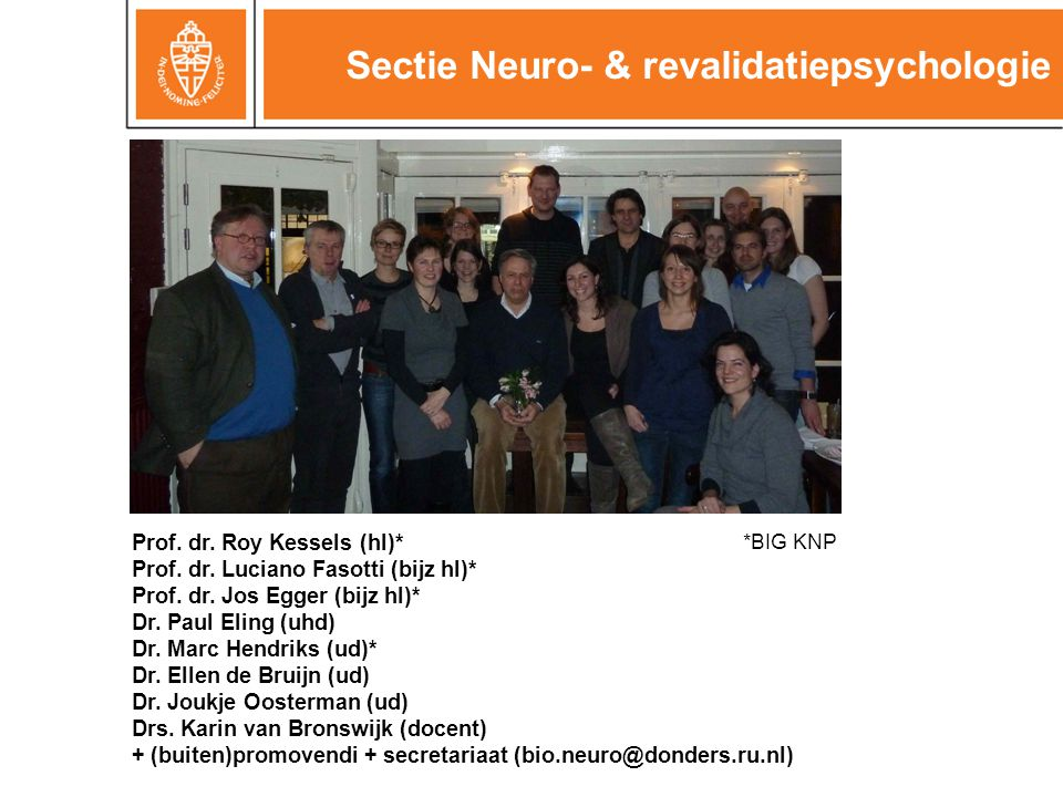 Sectie Neuro- & revalidatiepsychologie