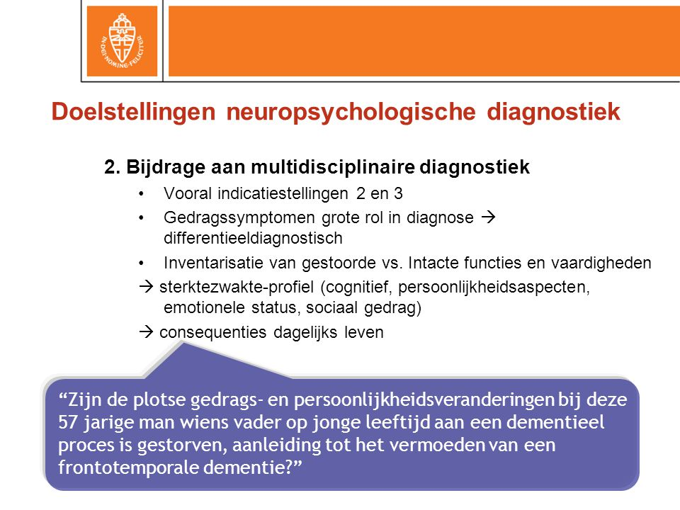 Doelstellingen neuropsychologische diagnostiek
