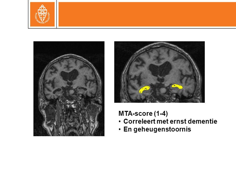 MTA-score (1-4) Correleert met ernst dementie En geheugenstoornis 29