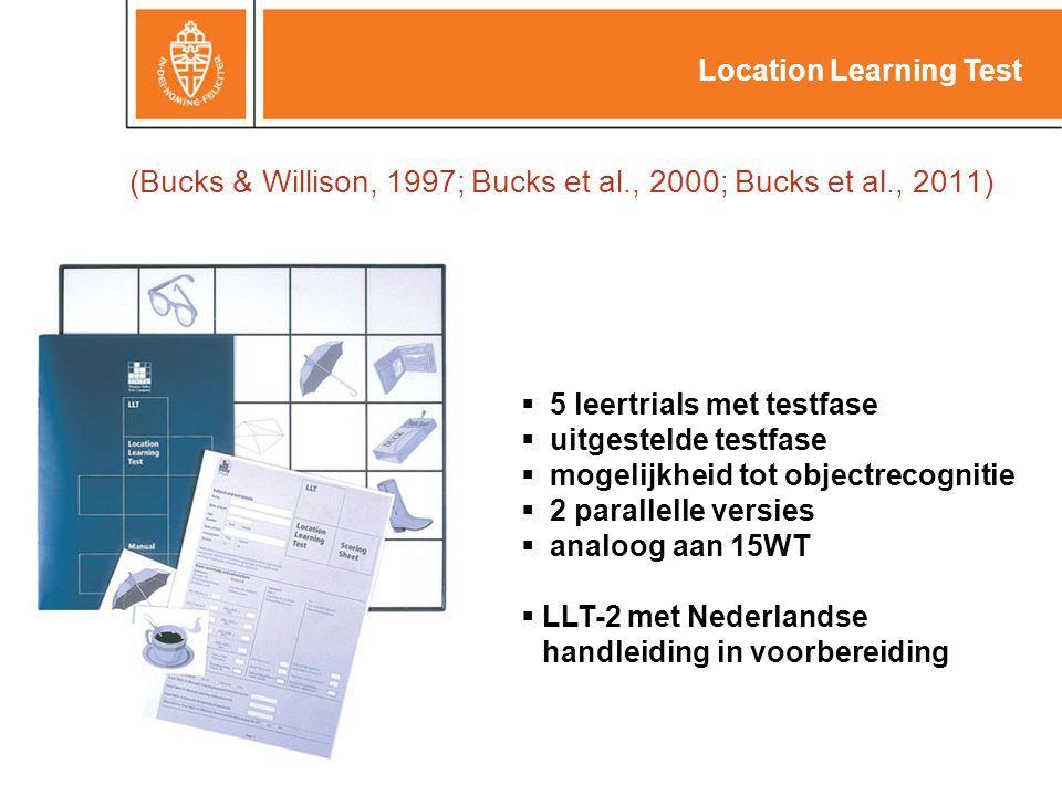 (Bucks & Willison, 1997; Bucks et al., 2000; Bucks et al., 2011)