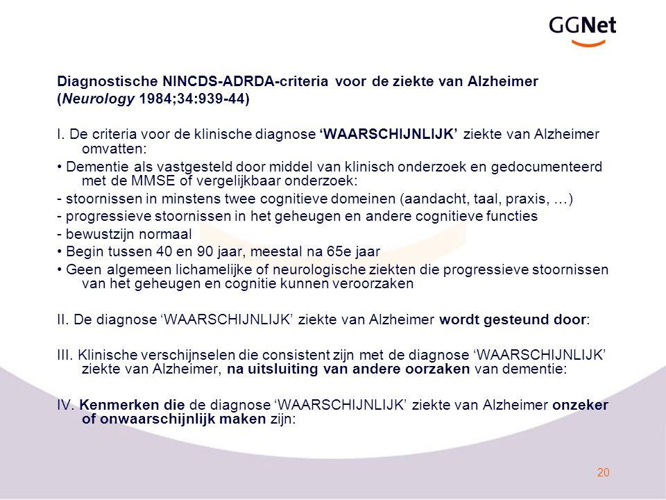 Diagnostische NINCDS-ADRDA-criteria voor de ziekte van Alzheimer