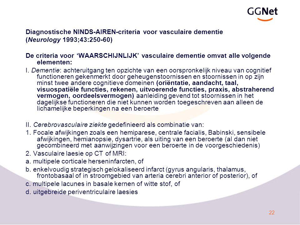 Diagnostische NINDS-AIREN-criteria voor vasculaire dementie