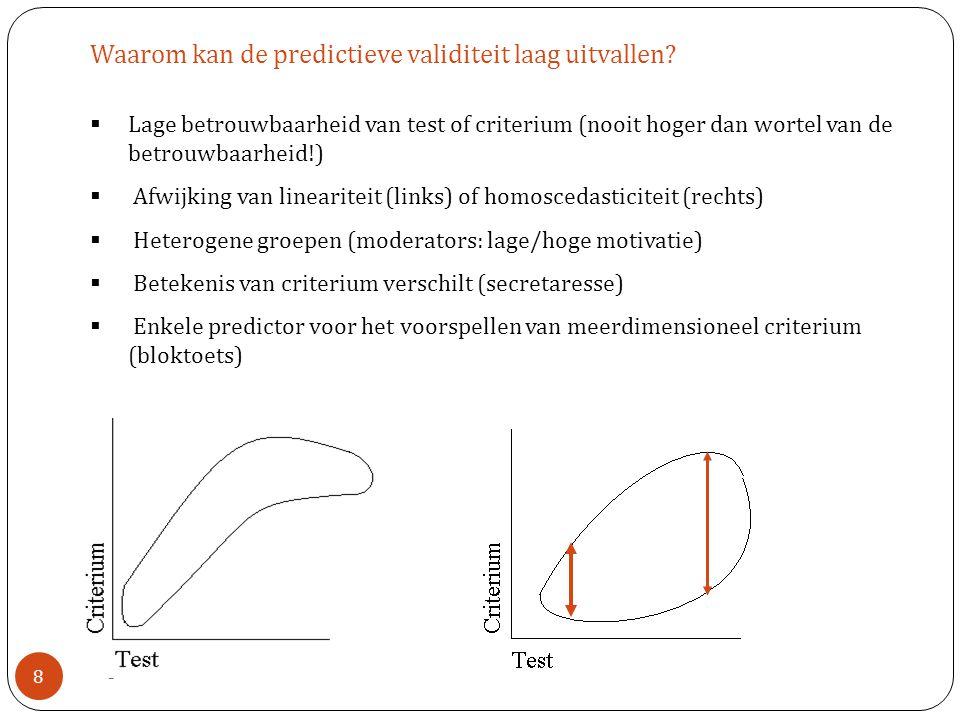 Waarom kan de predictieve validiteit laag uitvallen