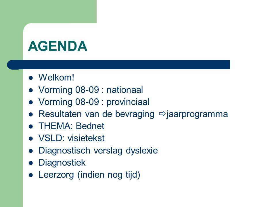 AGENDA Welkom! Vorming 08-09 : nationaal Vorming 08-09 : provinciaal