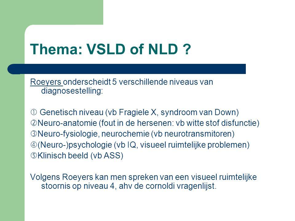 Thema: VSLD of NLD Roeyers onderscheidt 5 verschillende niveaus van diagnosestelling:  Genetisch niveau (vb Fragiele X, syndroom van Down)