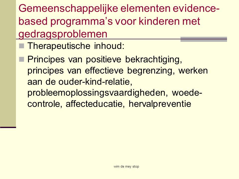 Gemeenschappelijke elementen evidence- based programma's voor kinderen met gedragsproblemen