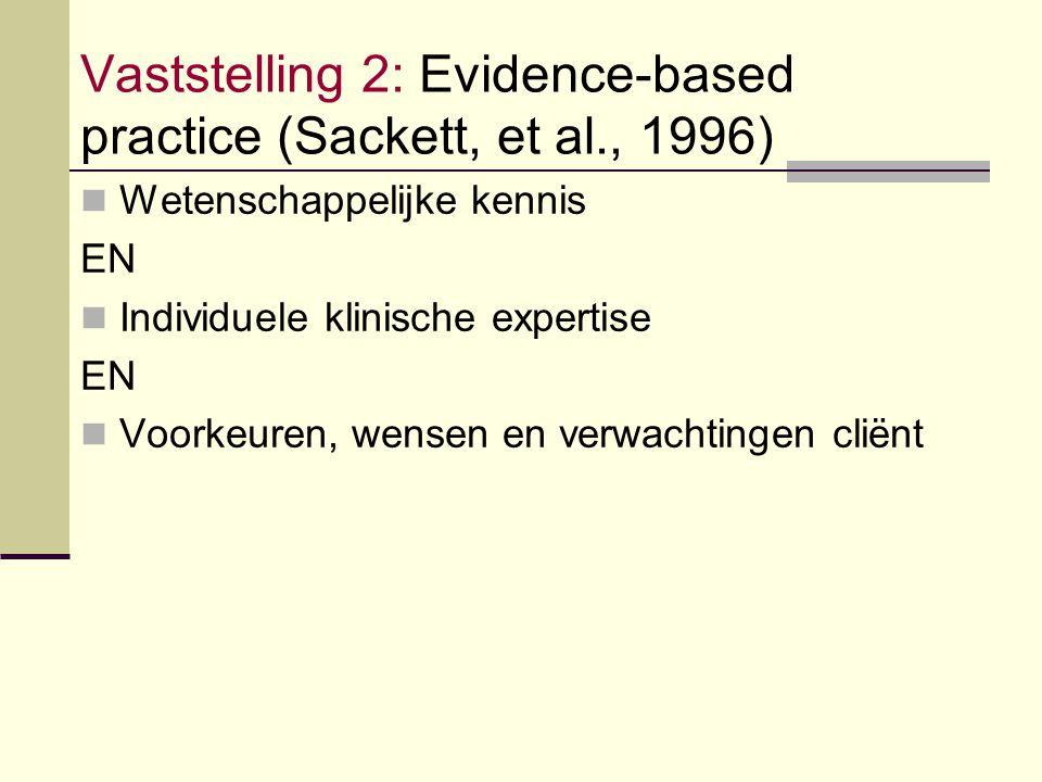 Vaststelling 2: Evidence-based practice (Sackett, et al., 1996)