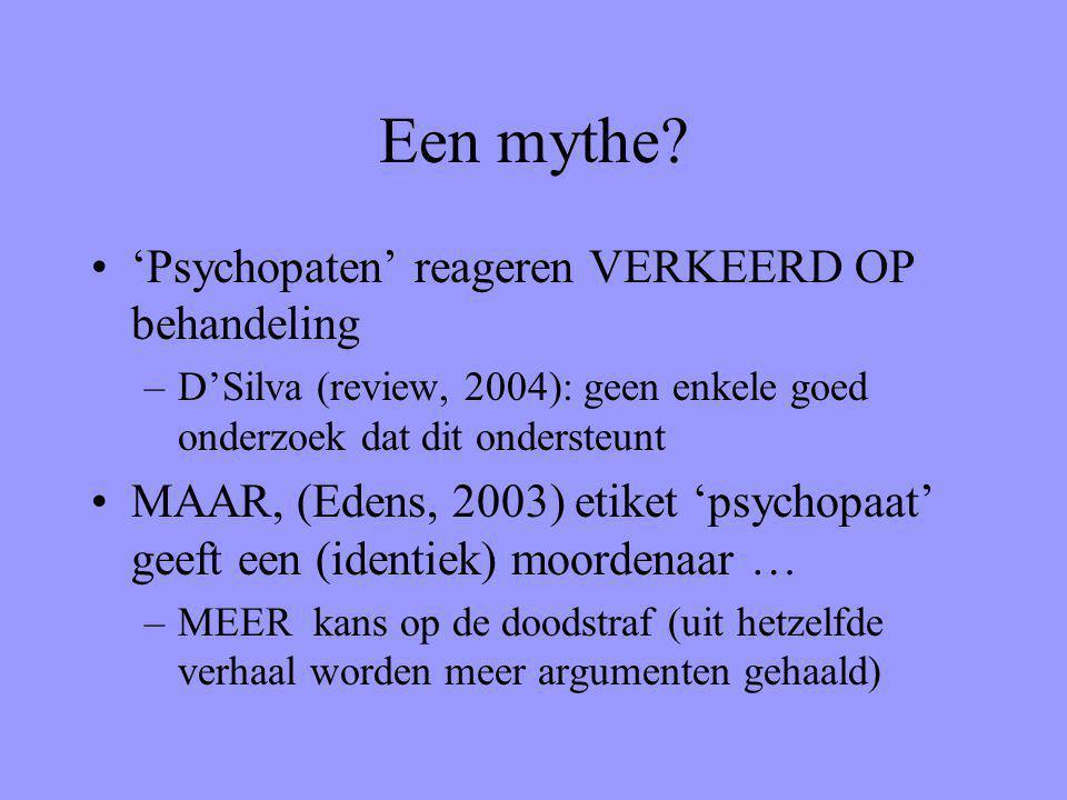 Een mythe 'Psychopaten' reageren VERKEERD OP behandeling
