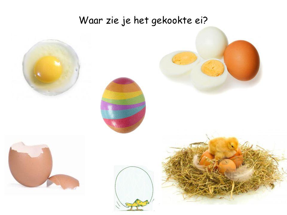 Waar zie je het gekookte ei