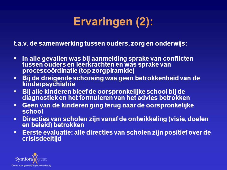 Ervaringen (2): t.a.v. de samenwerking tussen ouders, zorg en onderwijs: