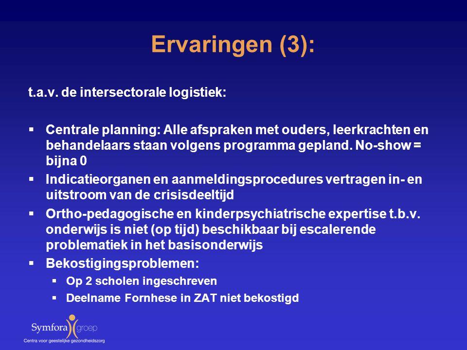 Ervaringen (3): t.a.v. de intersectorale logistiek: