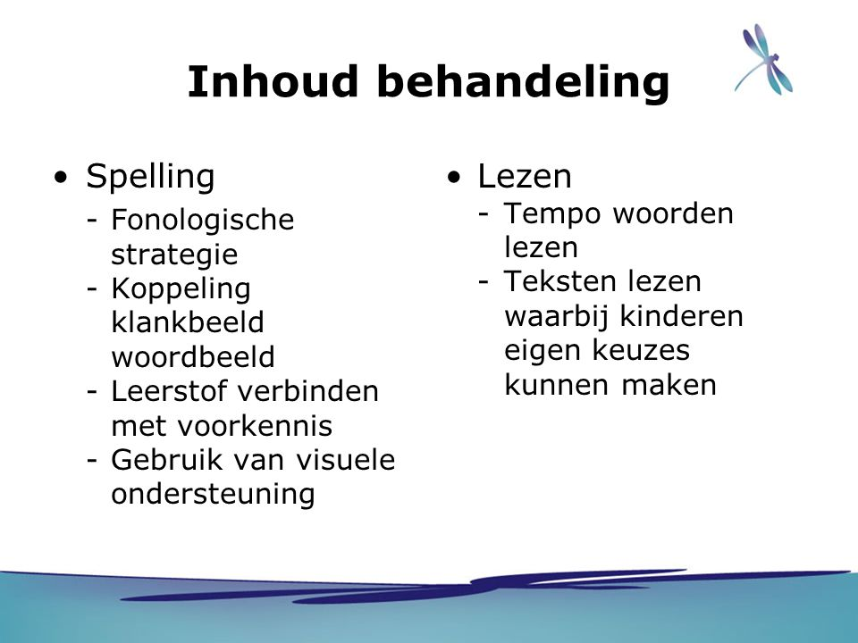Inhoud behandeling Spelling