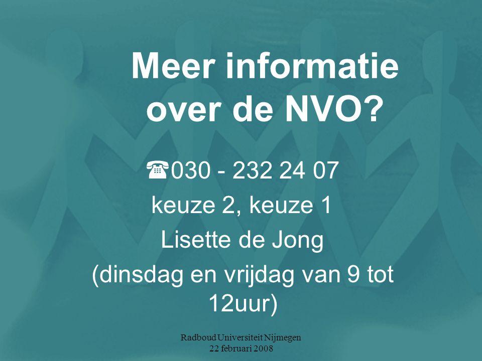 Meer informatie over de NVO