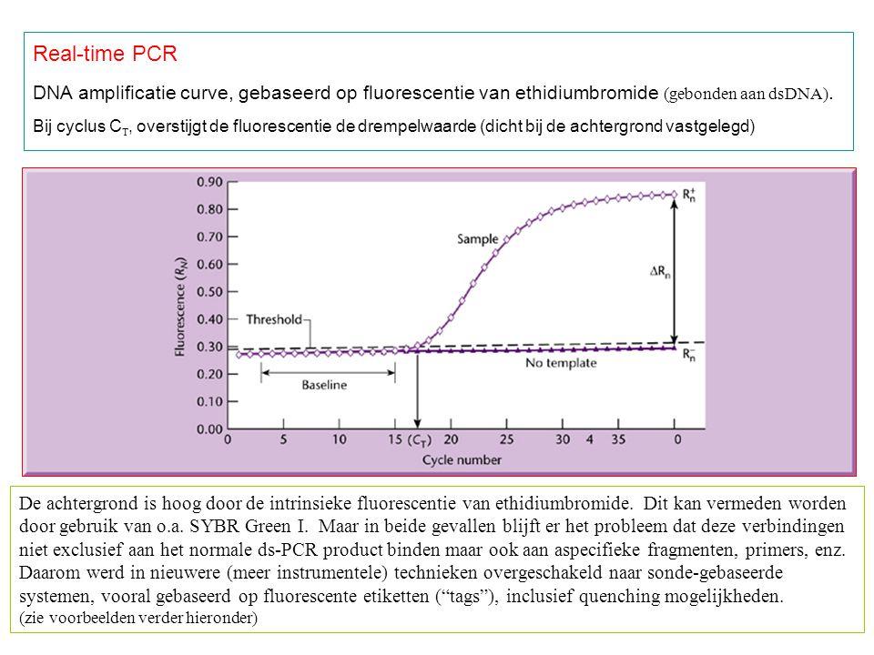 Real-time PCR DNA amplificatie curve, gebaseerd op fluorescentie van ethidiumbromide (gebonden aan dsDNA).