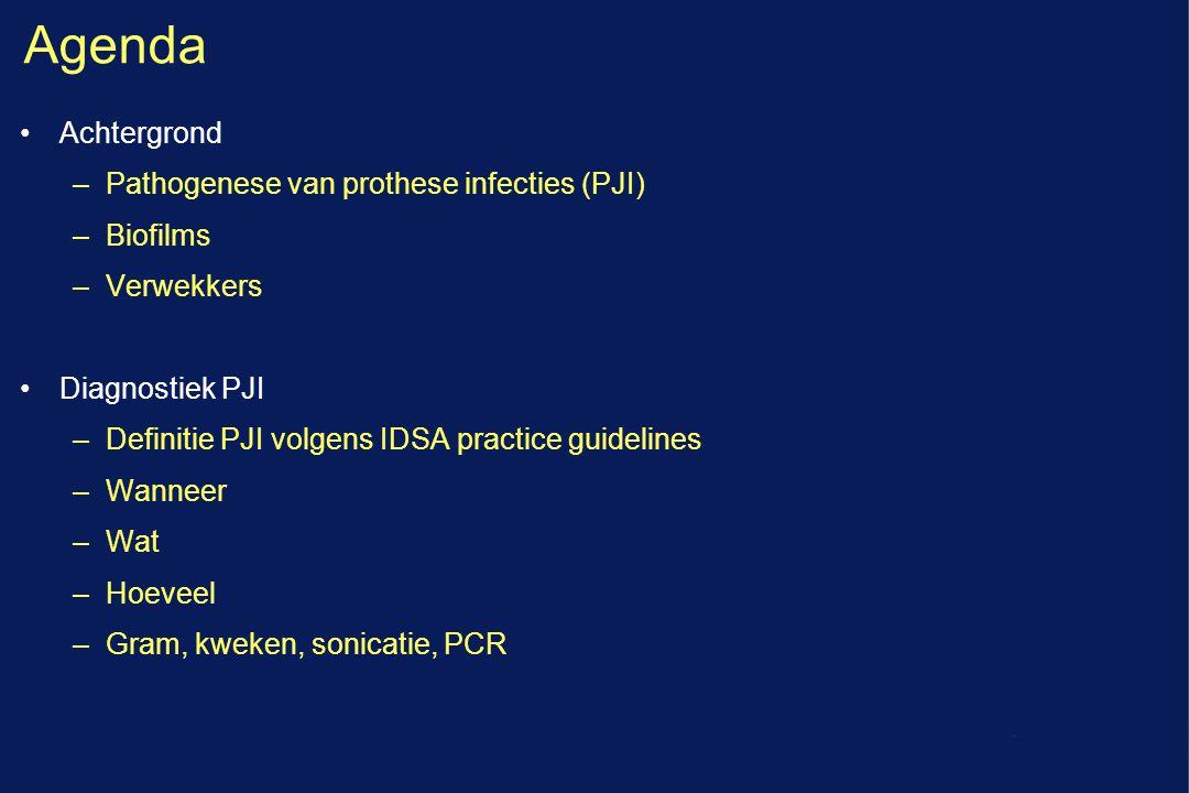 Agenda Achtergrond Pathogenese van prothese infecties (PJI) Biofilms