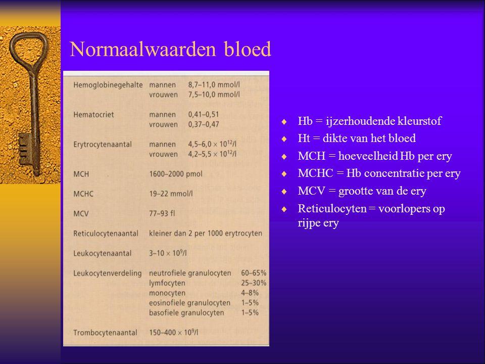 Normaalwaarden bloed Hb = ijzerhoudende kleurstof