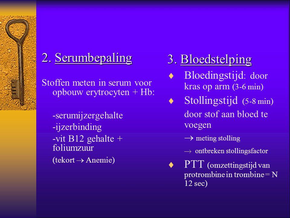 2. Serumbepaling 3. Bloedstelping