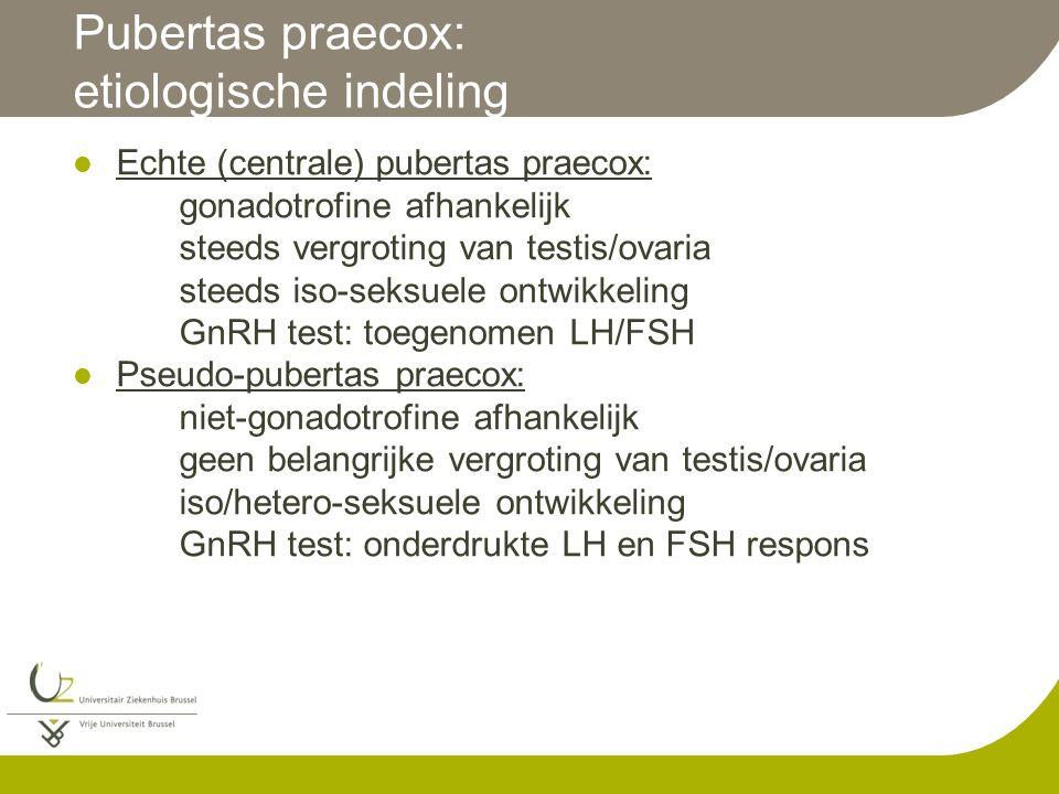 Pubertas praecox: etiologische indeling