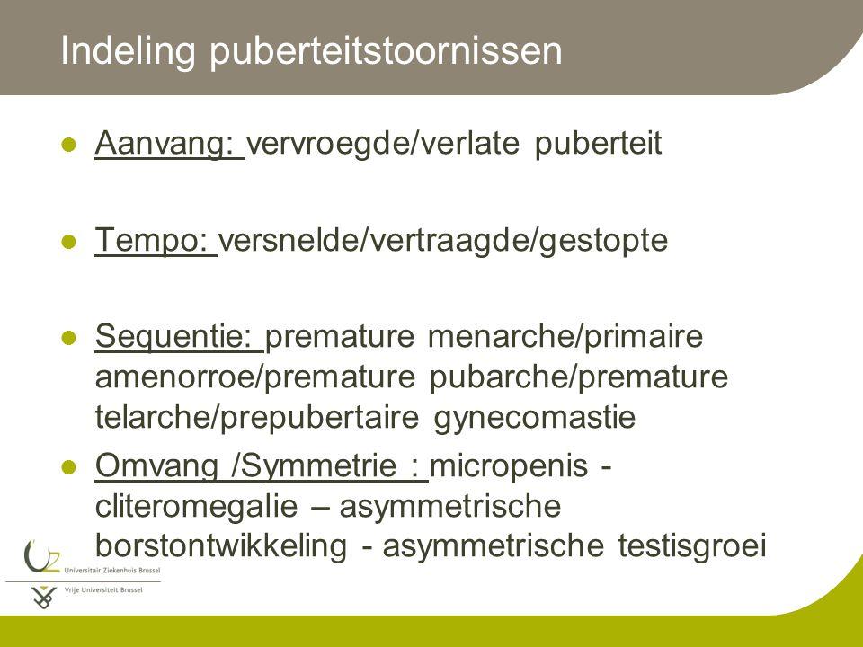 Indeling puberteitstoornissen