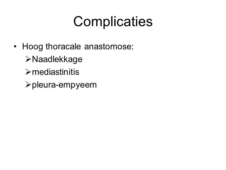 Complicaties Hoog thoracale anastomose: Naadlekkage mediastinitis