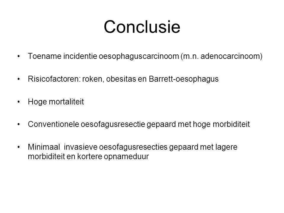 Conclusie Toename incidentie oesophaguscarcinoom (m.n. adenocarcinoom)