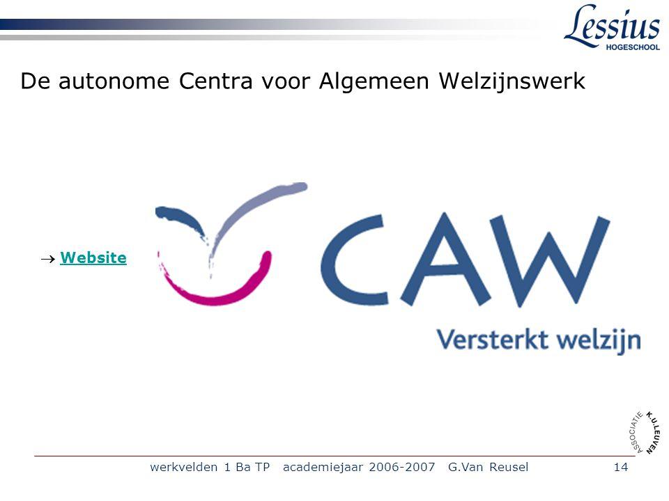 De autonome Centra voor Algemeen Welzijnswerk