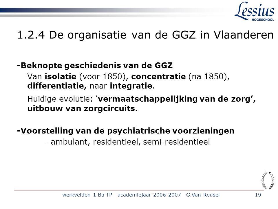 1.2.4 De organisatie van de GGZ in Vlaanderen