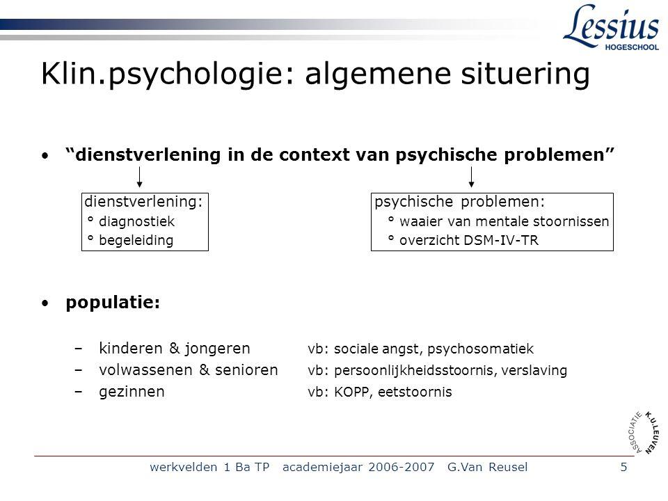 Klin.psychologie: algemene situering