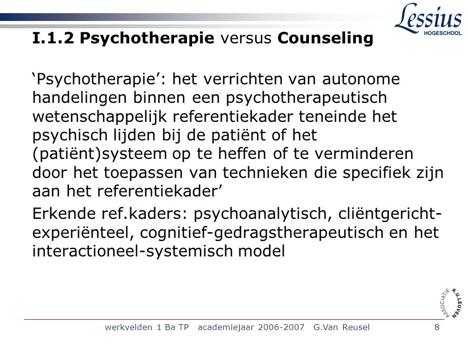 I.1.2 Psychotherapie versus Counseling
