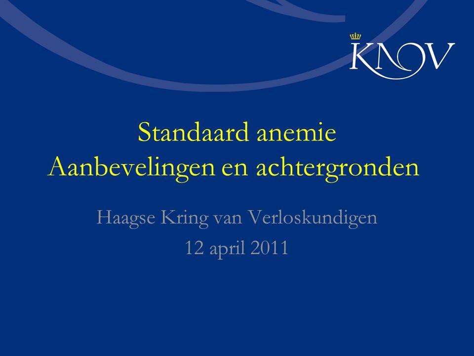 Standaard anemie Aanbevelingen en achtergronden